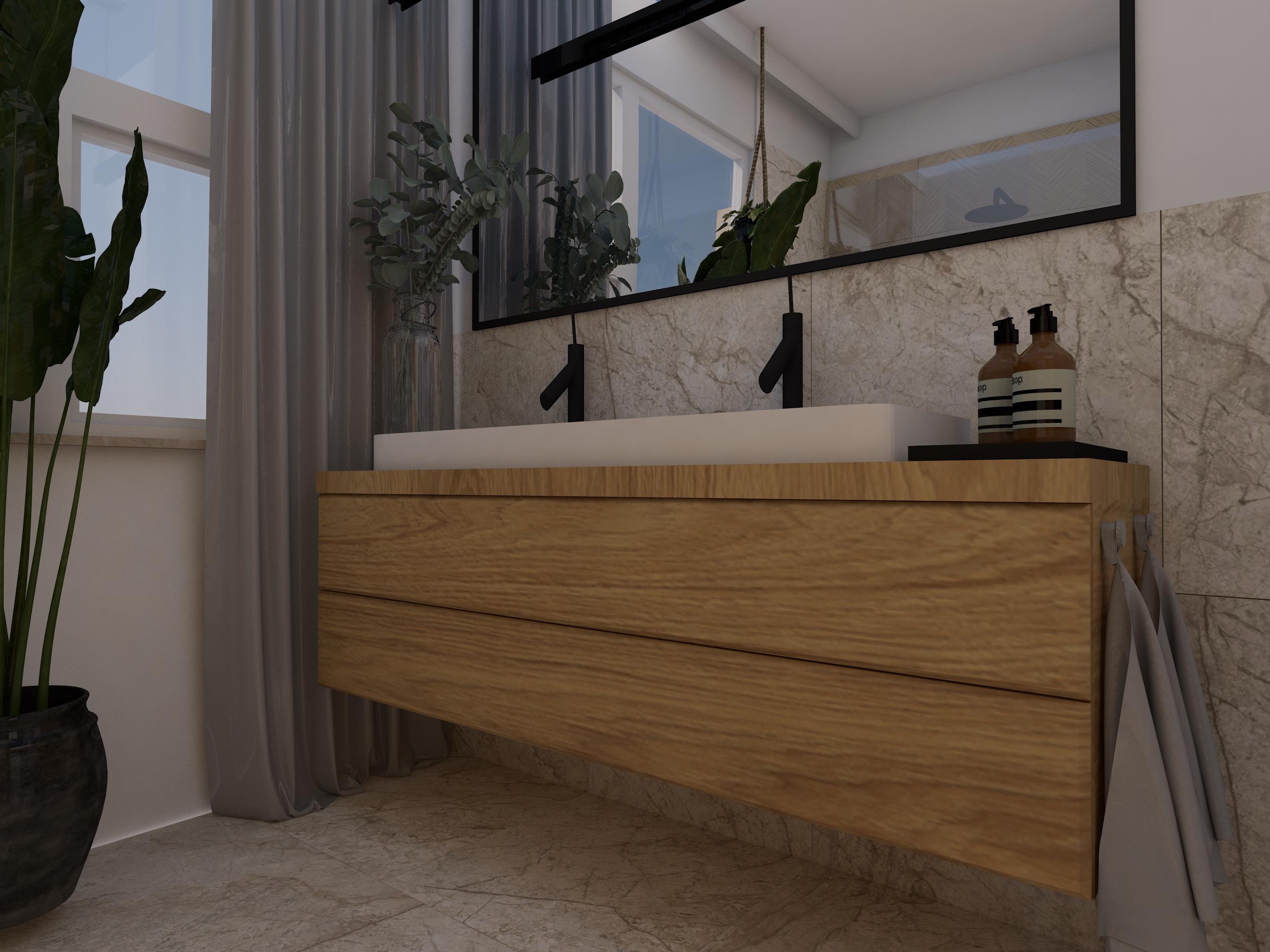Projekt mebli łazienkowych z umywalką wpuszczaną w blat