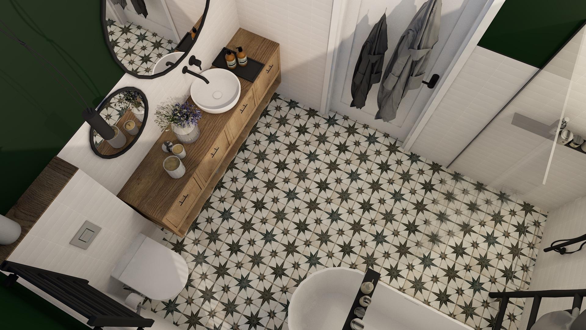 Projekt przestronnej łazienki z płytkami w stylu vintage oraz wanną wolnostojącą