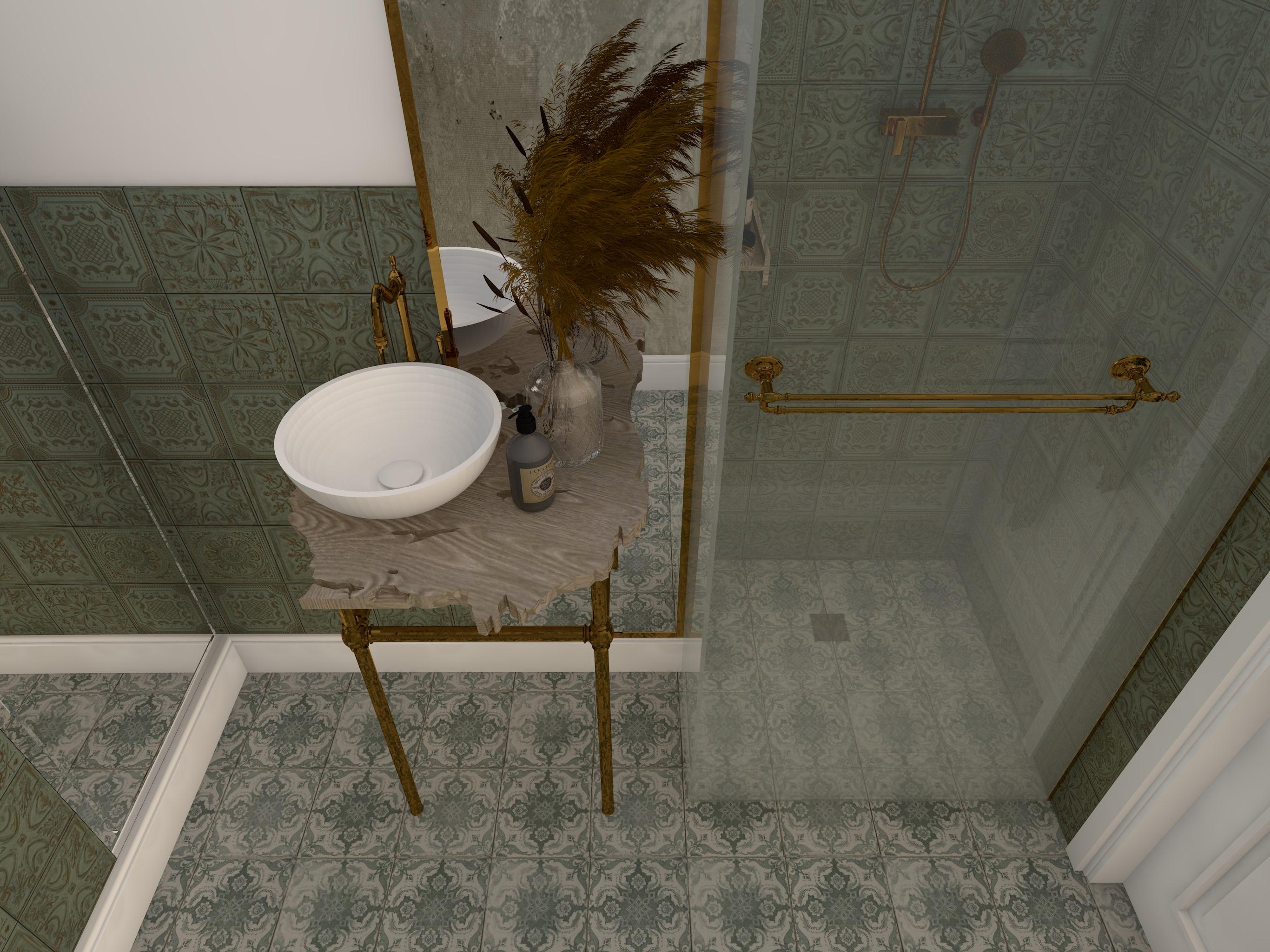 Projekt wnętrza rustykalnej łazienki z płytkami Gatsby