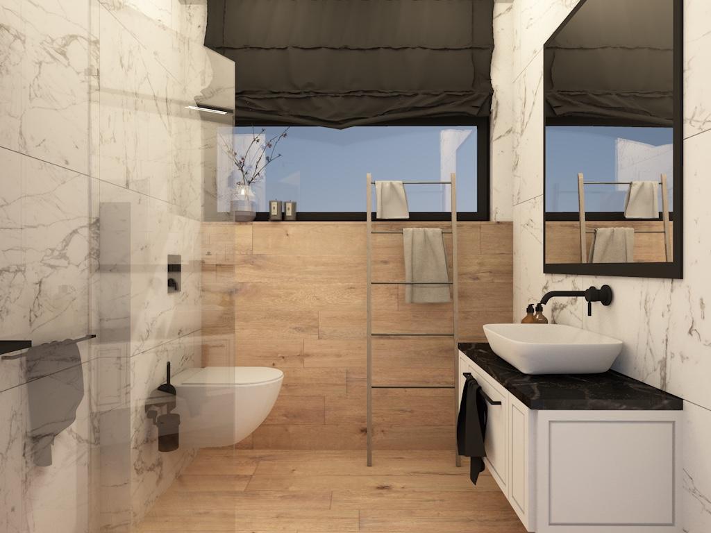 Projekt małej łazienki z oknem w ciepłych odcieniach z drewnem