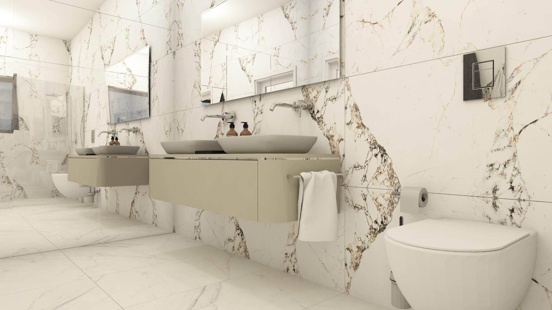 Projekt łazienki z przestronnym wnętrzem z płytkami imitującymi marmur