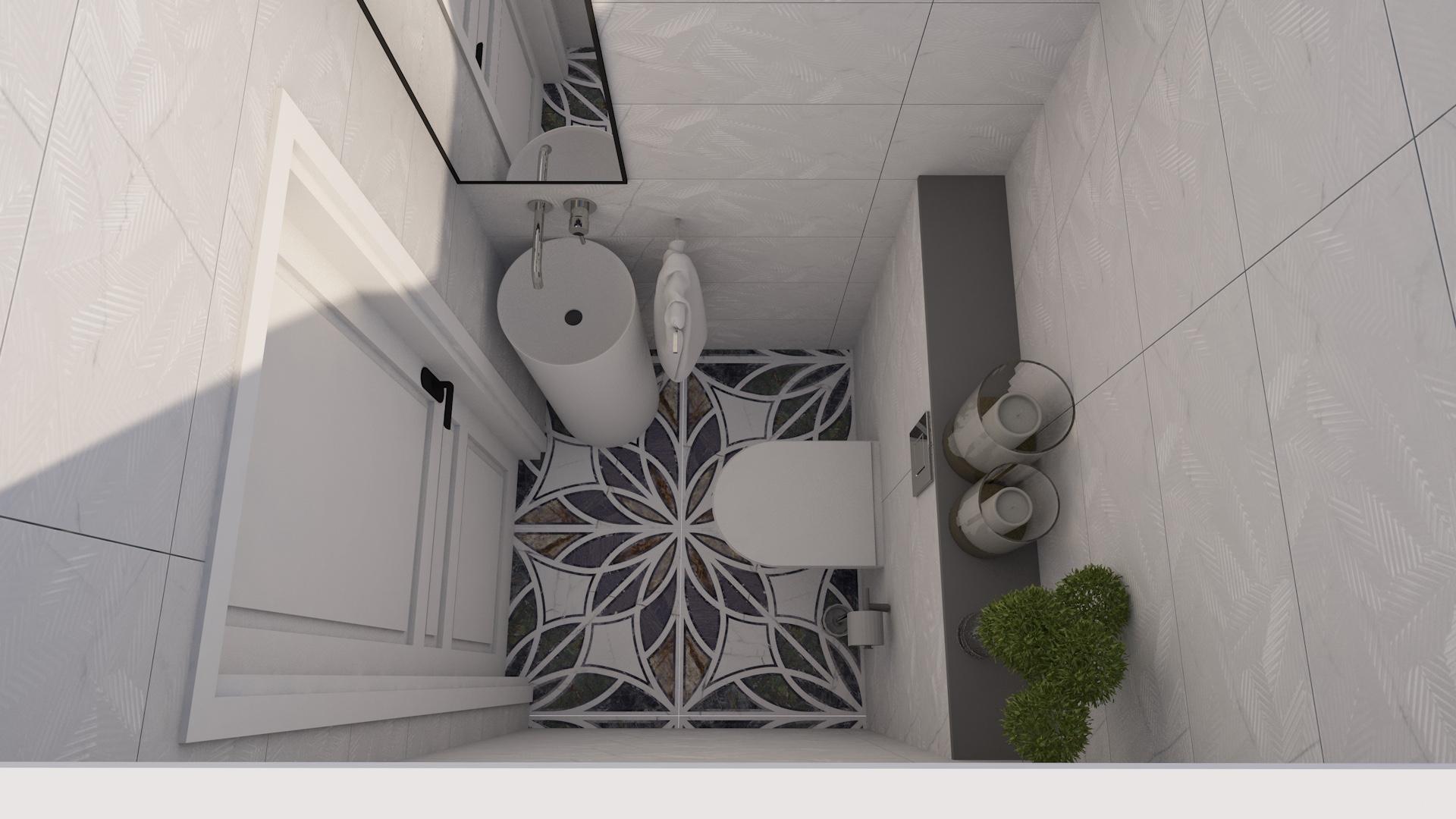 Projekt wnętrza bardzo małej łazienki w bloku z umywalką wolnostojącą