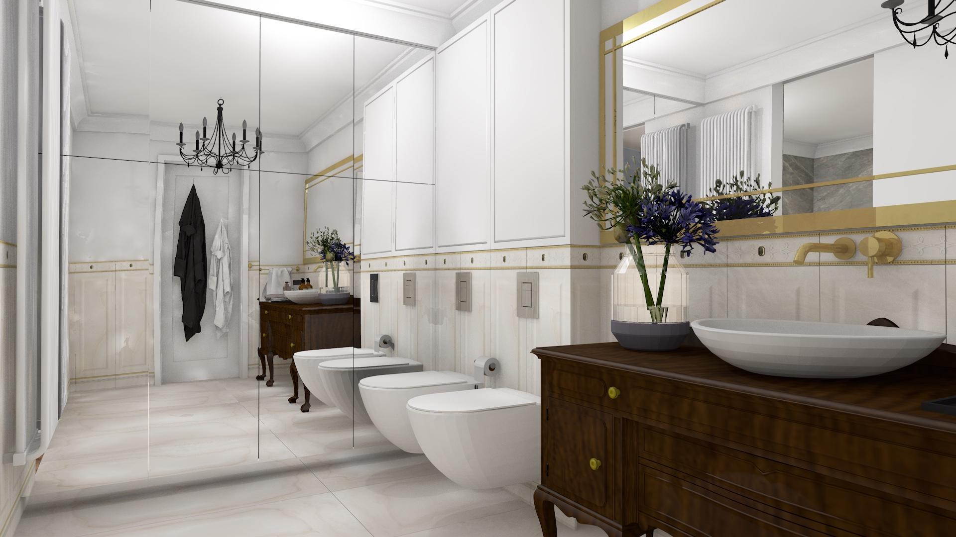 Projekt wnętrza ekskluzywnej łazienki w stylu glamour ze złotymi akcentami