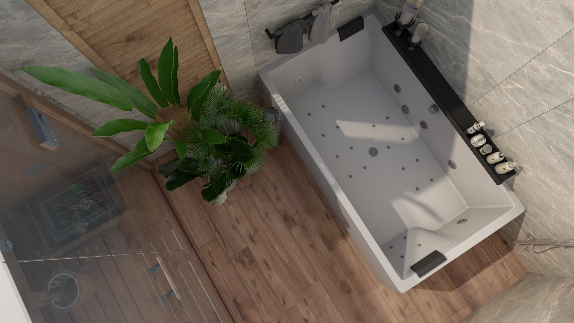 Projekt łazienki z wanną z hydromasażem i dodatkiem płytek imitujących kamień i drewno