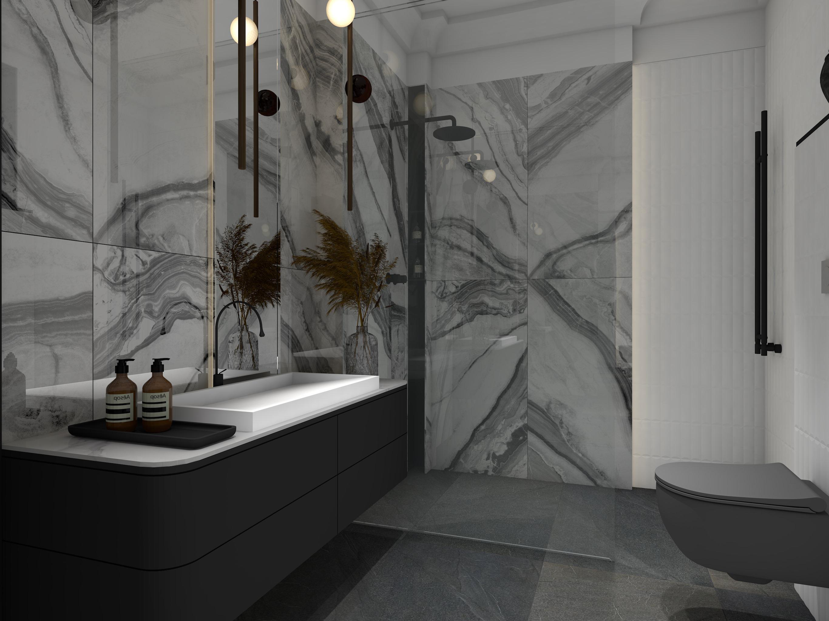 Projekt przestronnej łazienki z płytkami imitującymi marmur Panda White