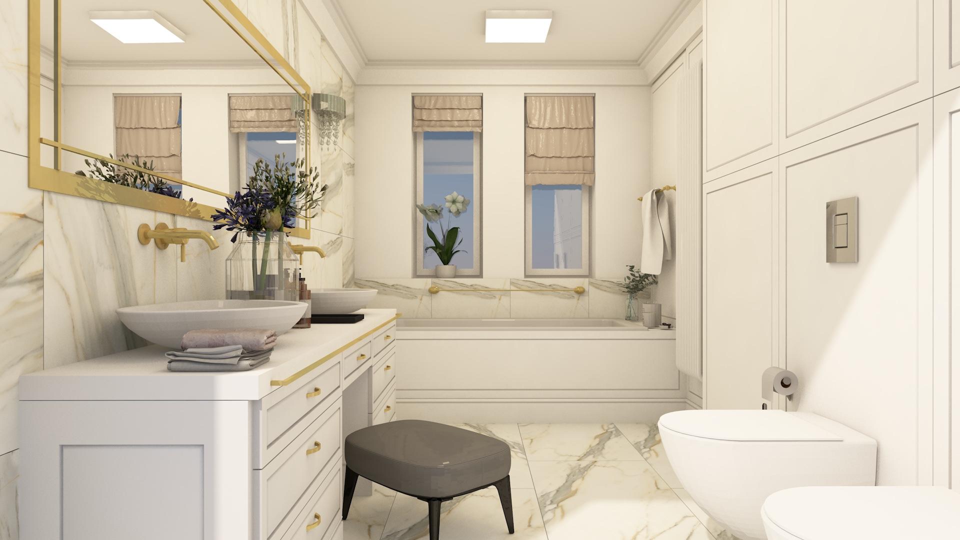 Projekt wnętrza jasnej łazienki w stylu klasycznym ze złotymi elementami i sztukaterią