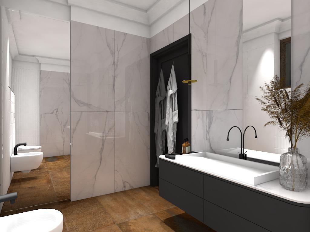 Projekt przestronnej łazienki z płytkami marmurowymi i metalizowanymi