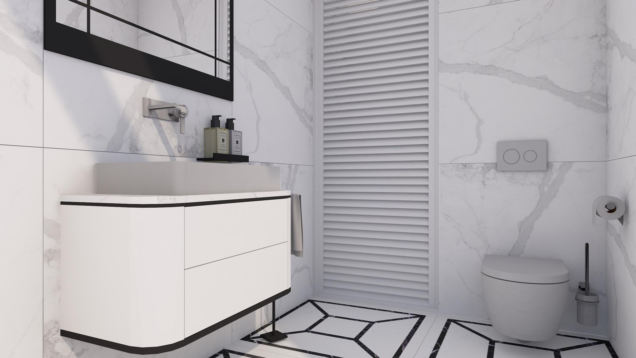 Projekt jasnej łazienki z płytkami imitującymi marmur w szarych odcieniach