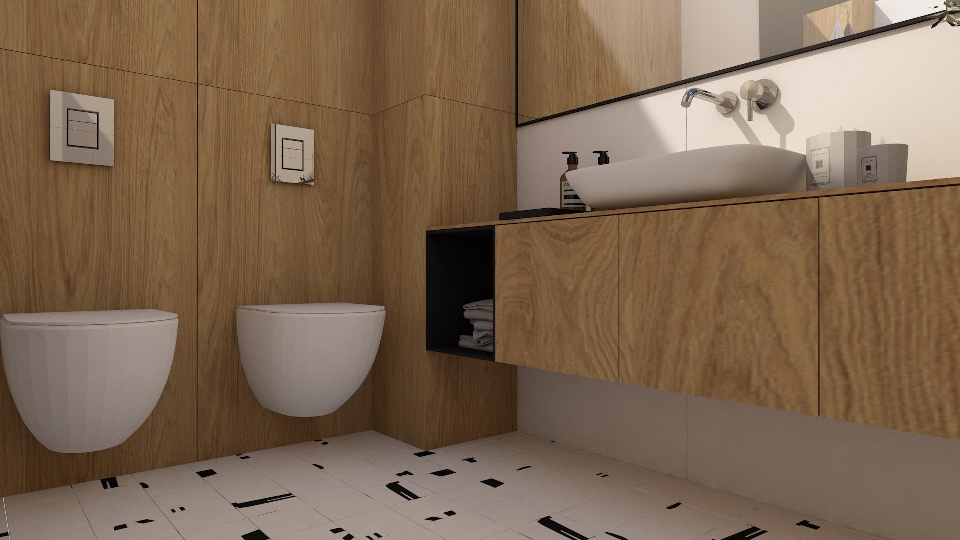 Nowoczesna łazienka z drewnem i dużym lustrem