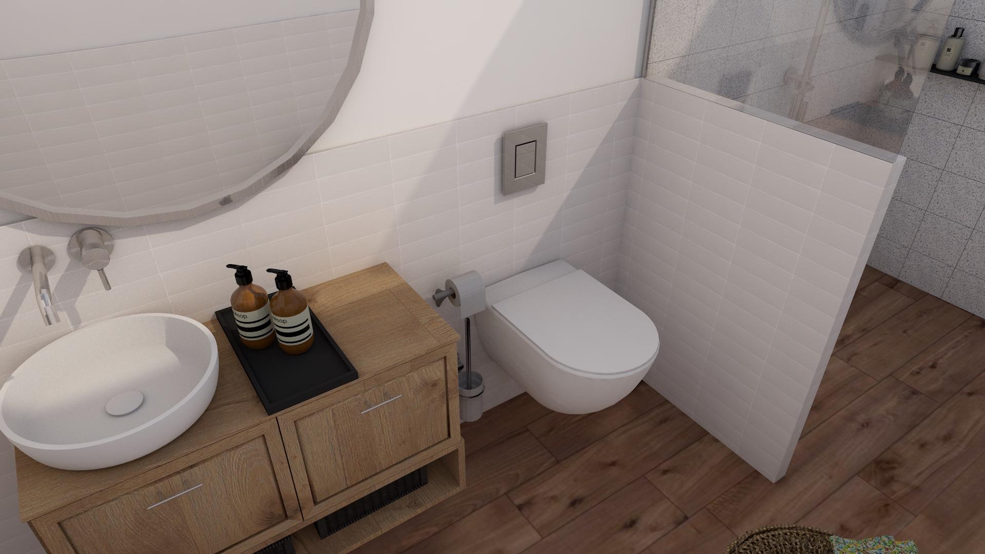 Projekt wnętrza łazienki z płytkami drewnopodobnymi i wydzieloną strefą prysznicową