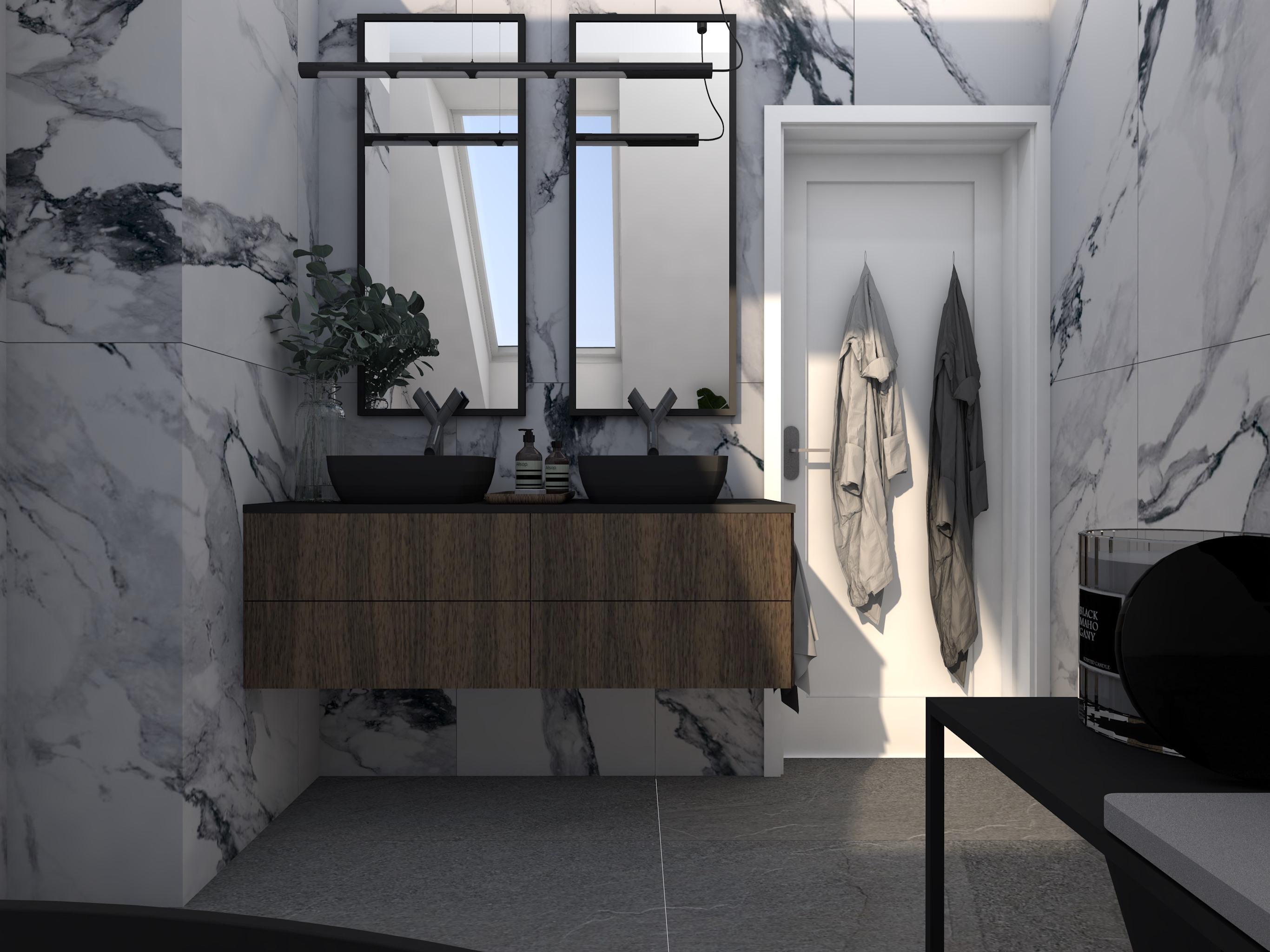 Projekty dużej łazienki z dwoma lustrami i umywalkami oraz plytkami imitującymi marmur