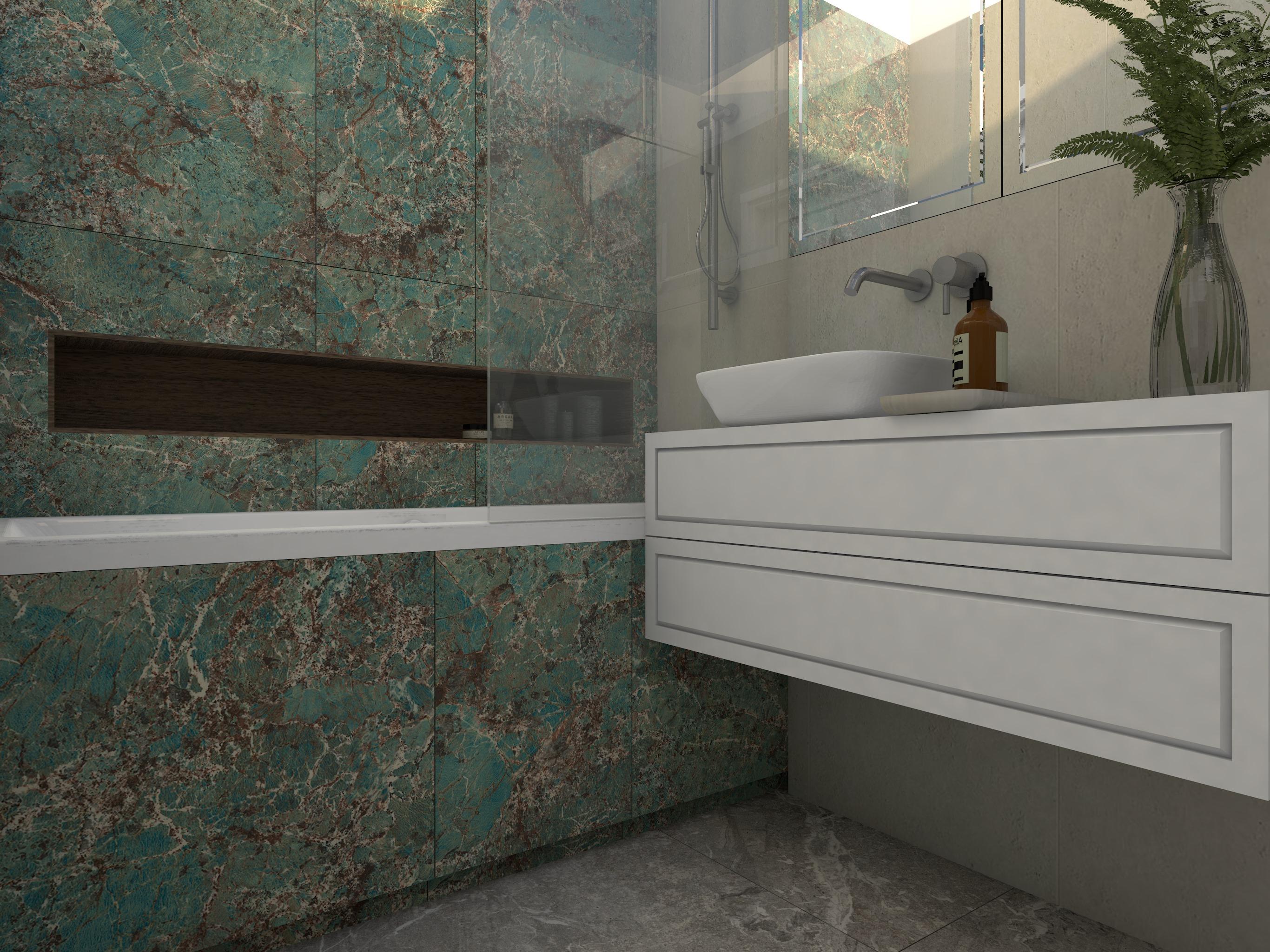 Projekt nowoczesnej łazienki z zielonymi płytkami i białymi elementami wyposażenia wnętrz