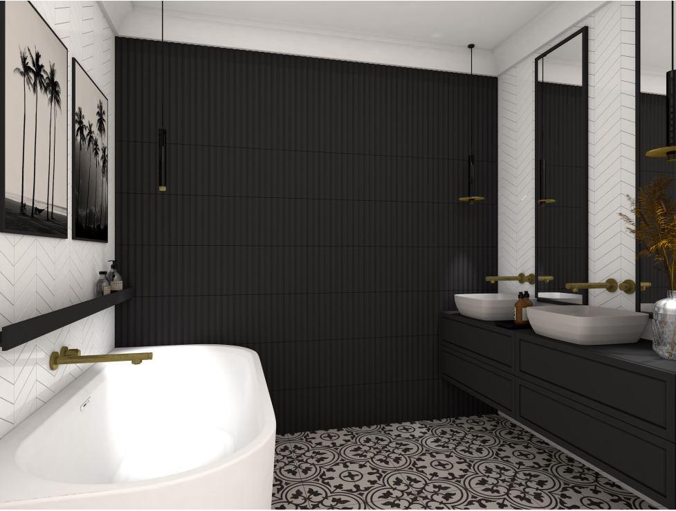 Projekt przestronnej łazienki z dwoma lustrami i umywalkami oraz wanną przyścienna