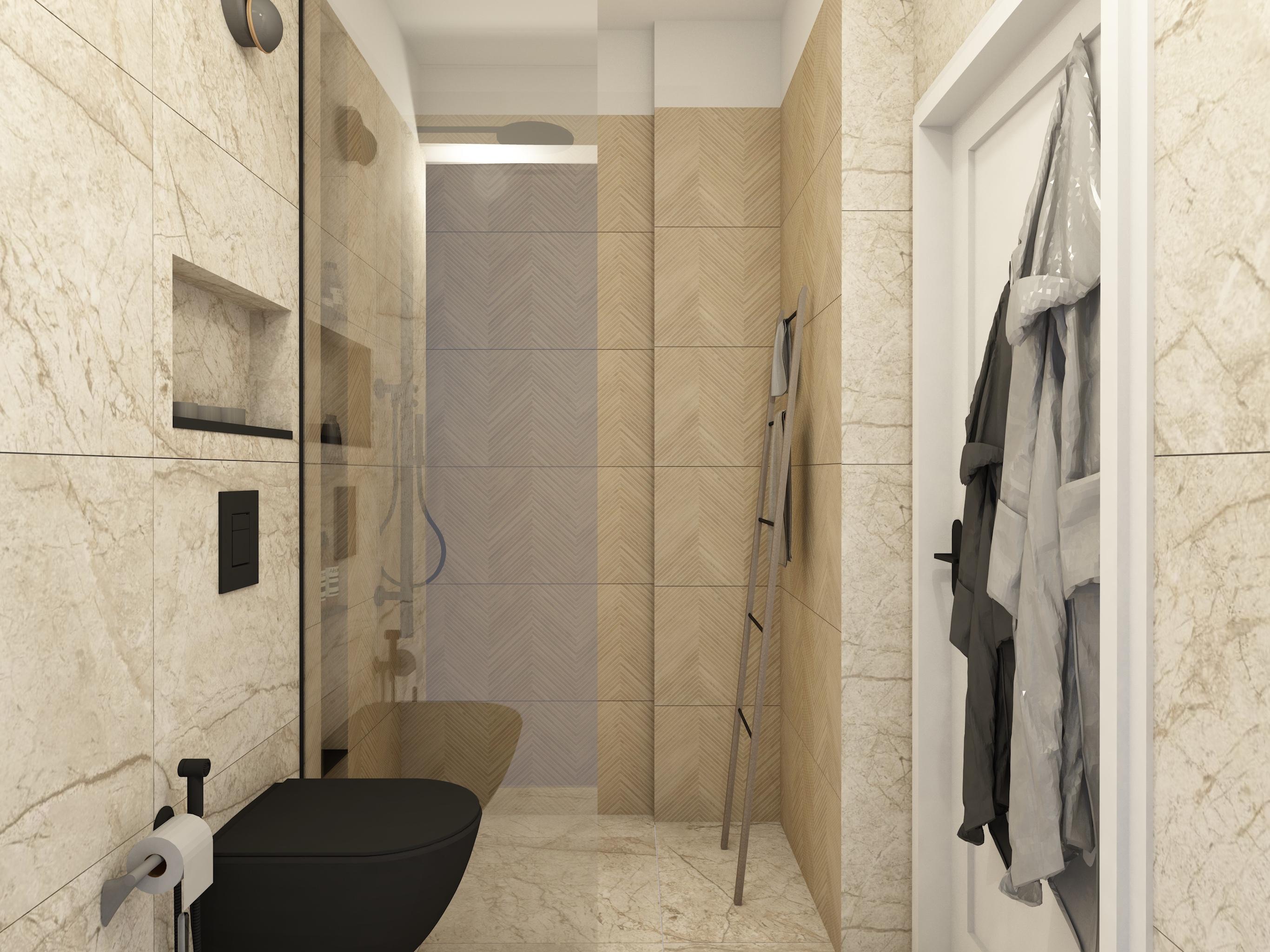 Łazienka z płytkami drewnopodobnymi w stylu chevron i imitującymi kamień