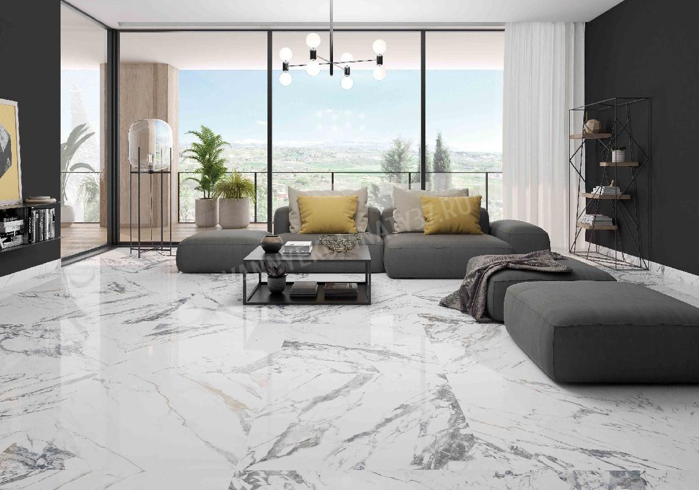 Salon z płytkami imitującymi marmur Tinenza 75x75