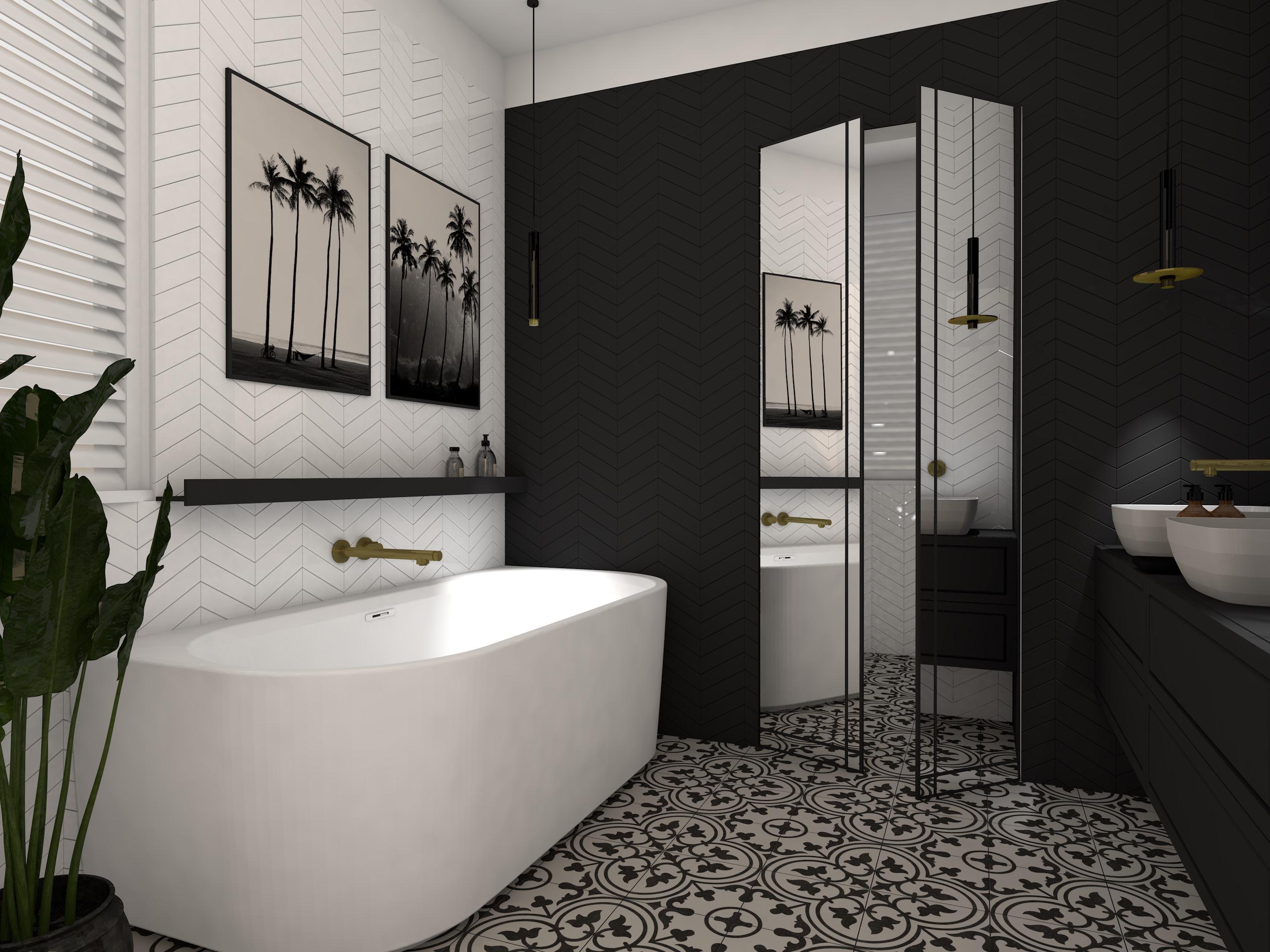 Indywidualny projekt nowoczesnej łazienki w ciemnych odcieniach.