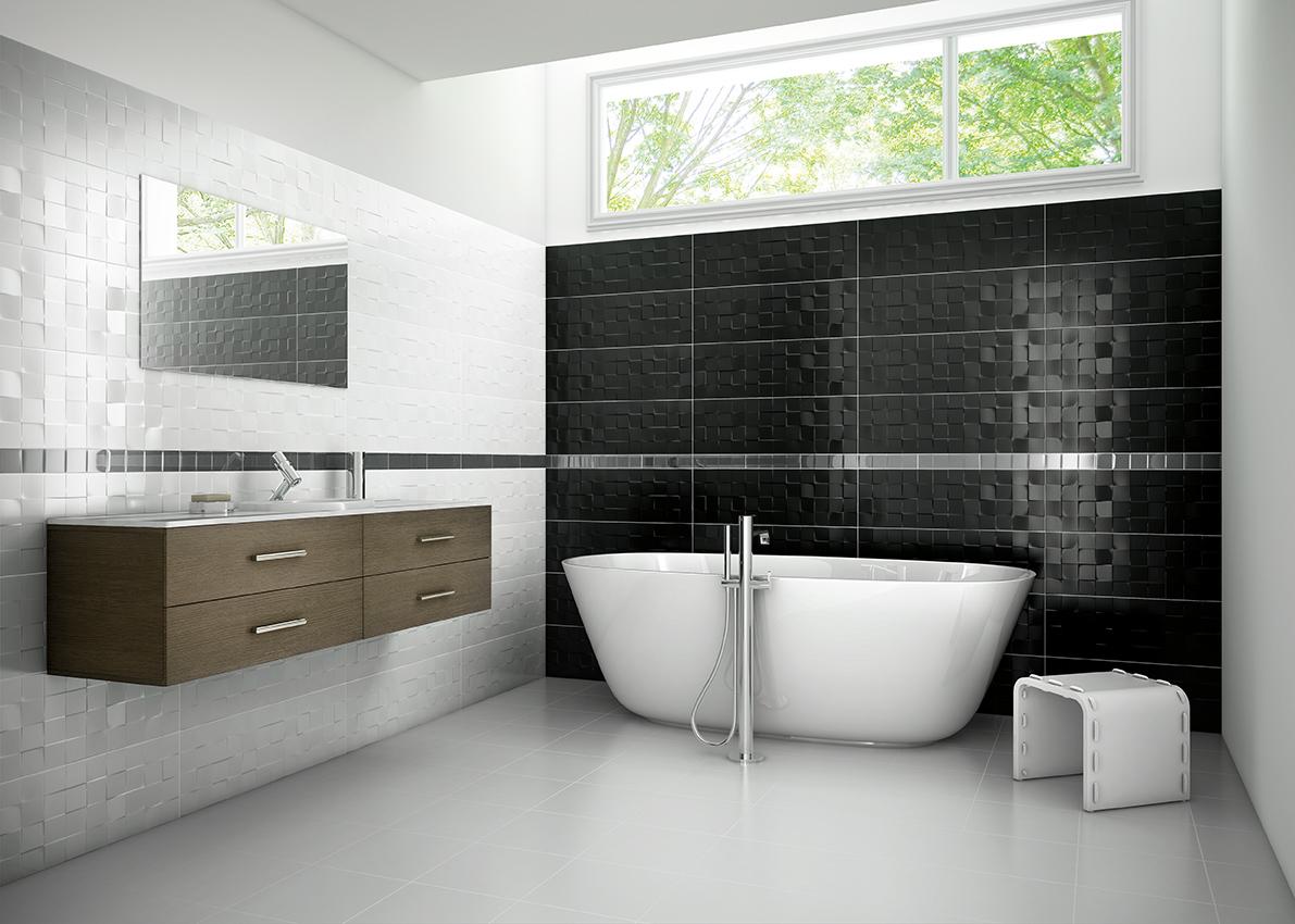 Łazienka biało czarna z płytkami Aparici Solid