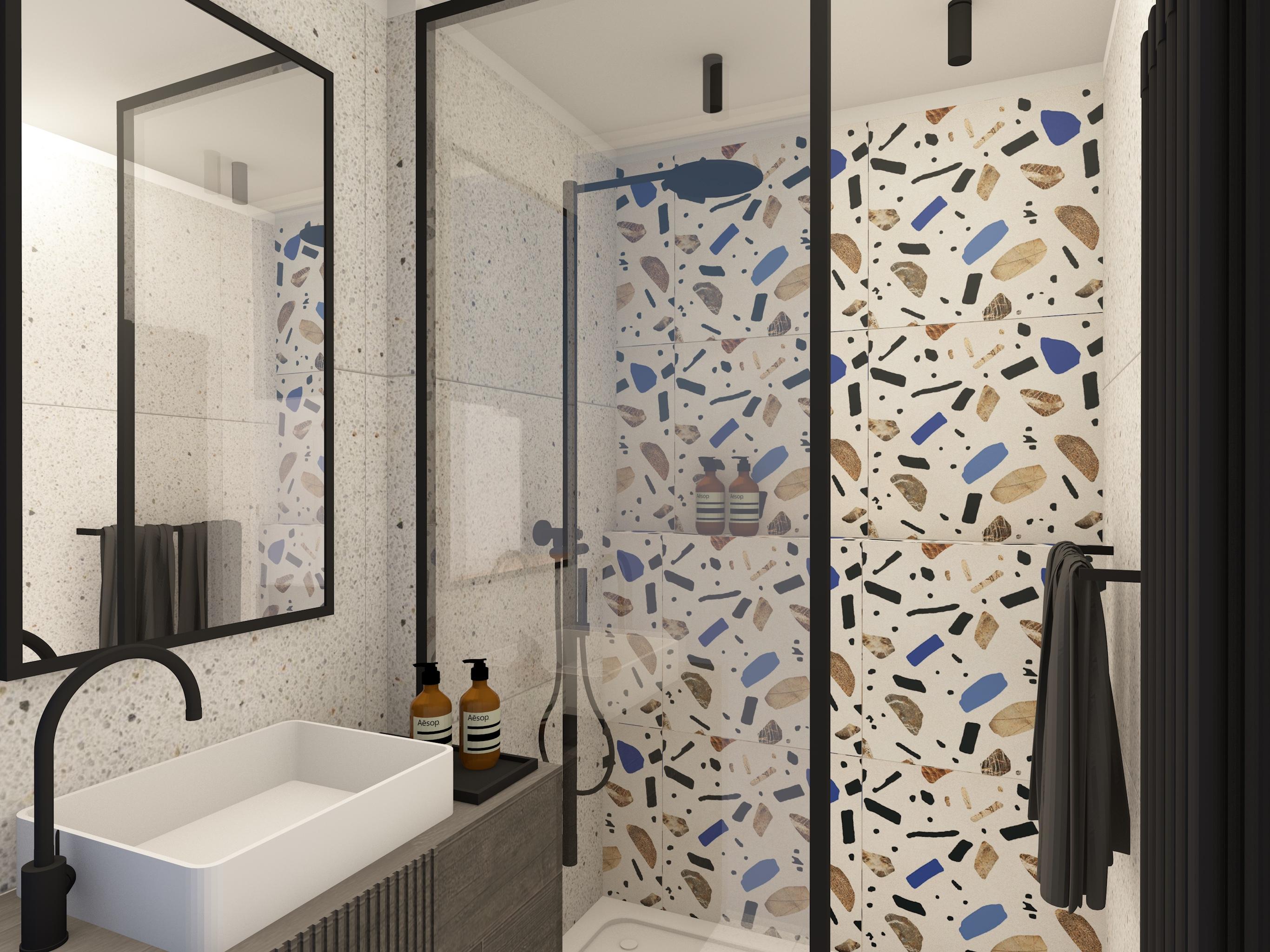 Projekt małej łazienki z kabiną prysznicową i płytkami w stylu lastryko