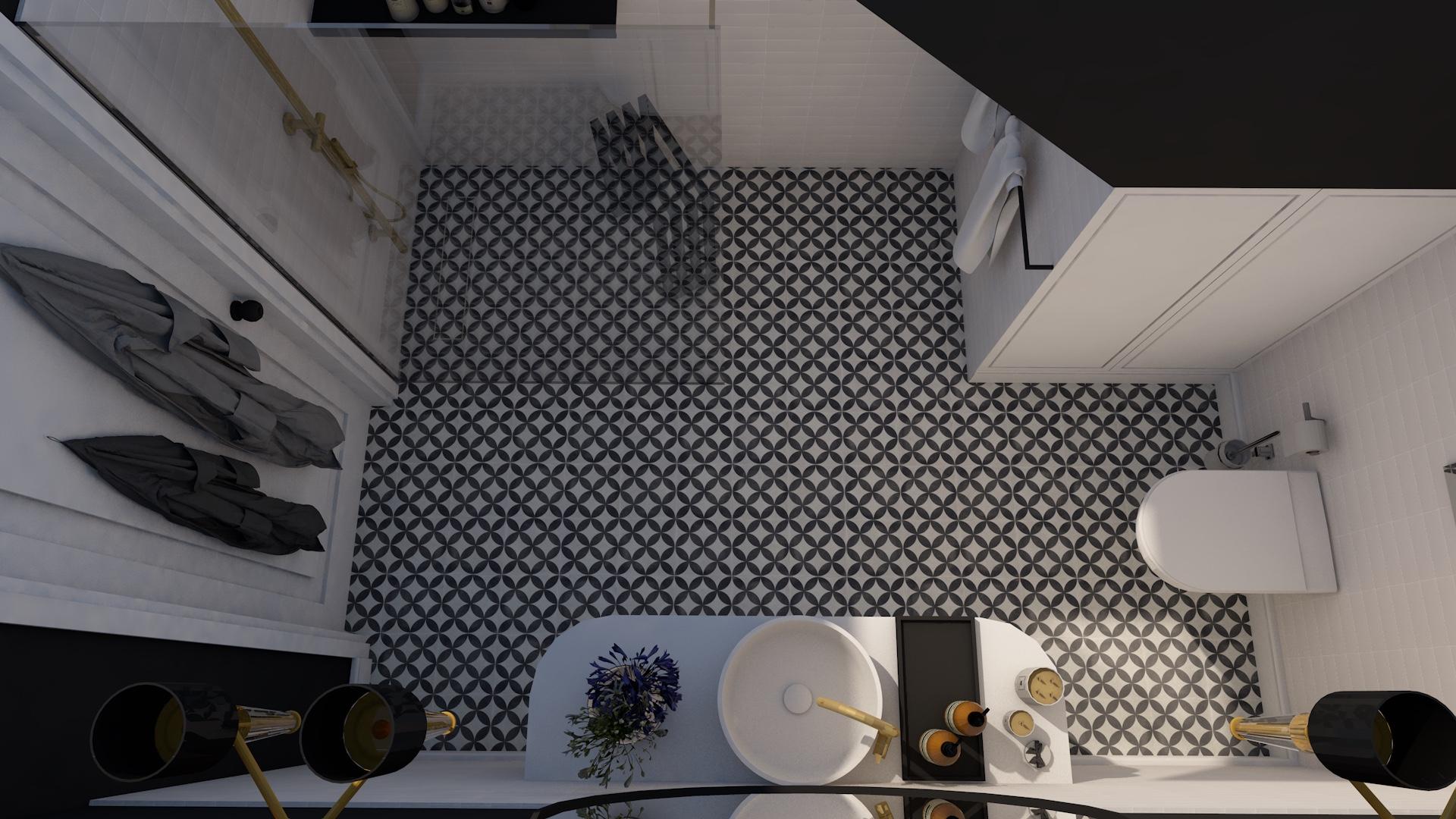 Projekt łazienki ze skosem i płytkami patchwork na podłodze