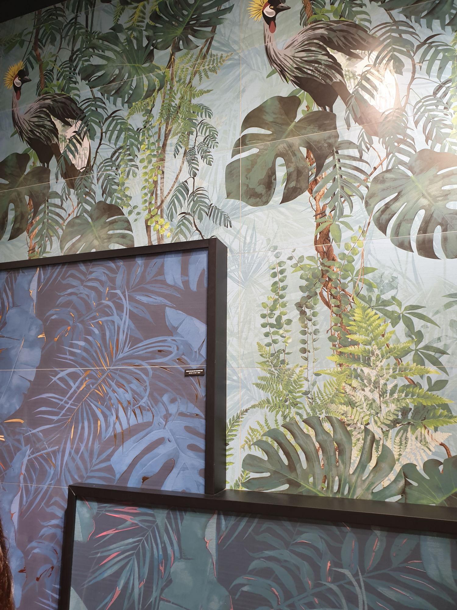 Płytki dekoracyjne APE z motywem dżungli, ptaków i kwiatu monstery