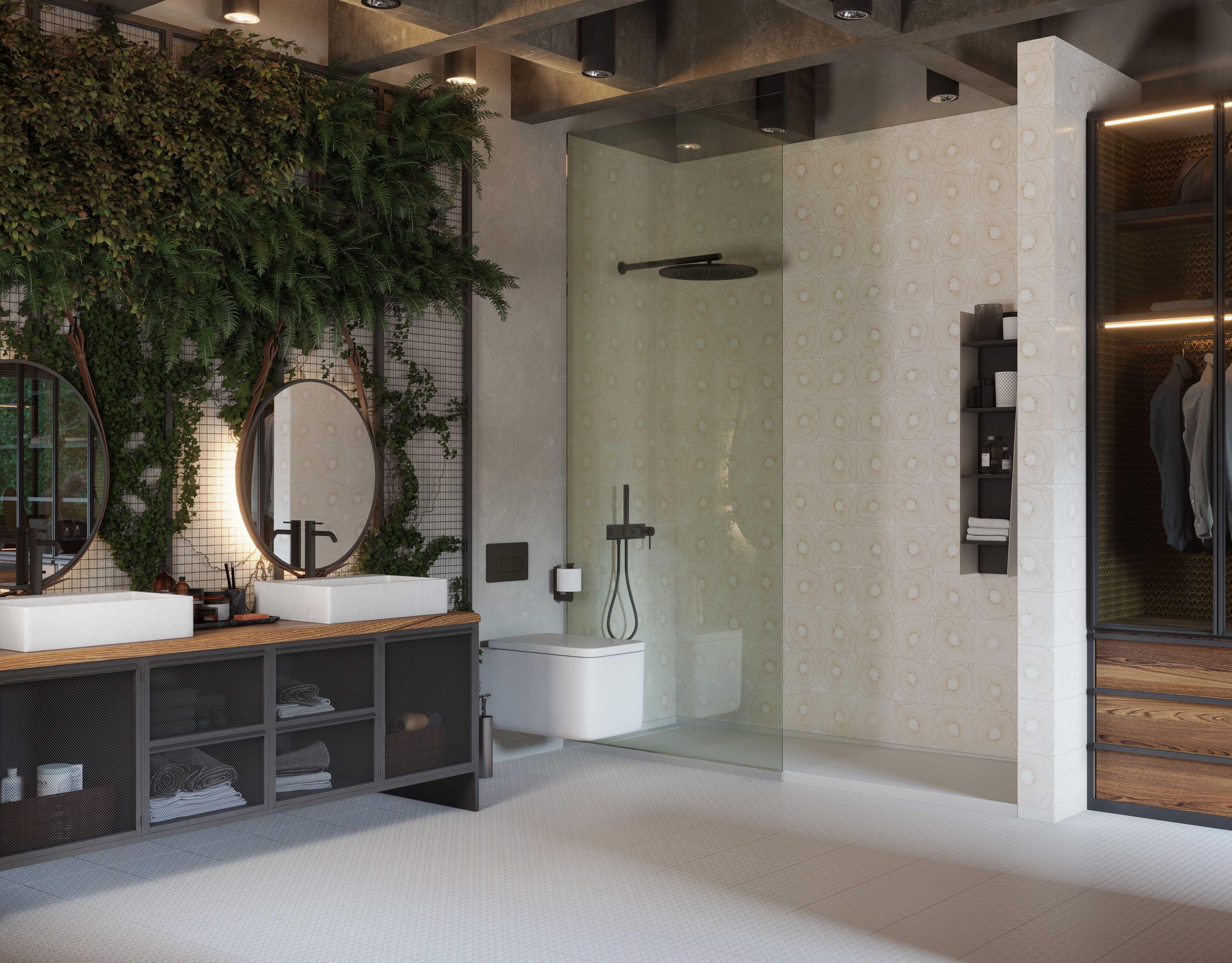Przestronna ciemna łazienka w stylu art deco