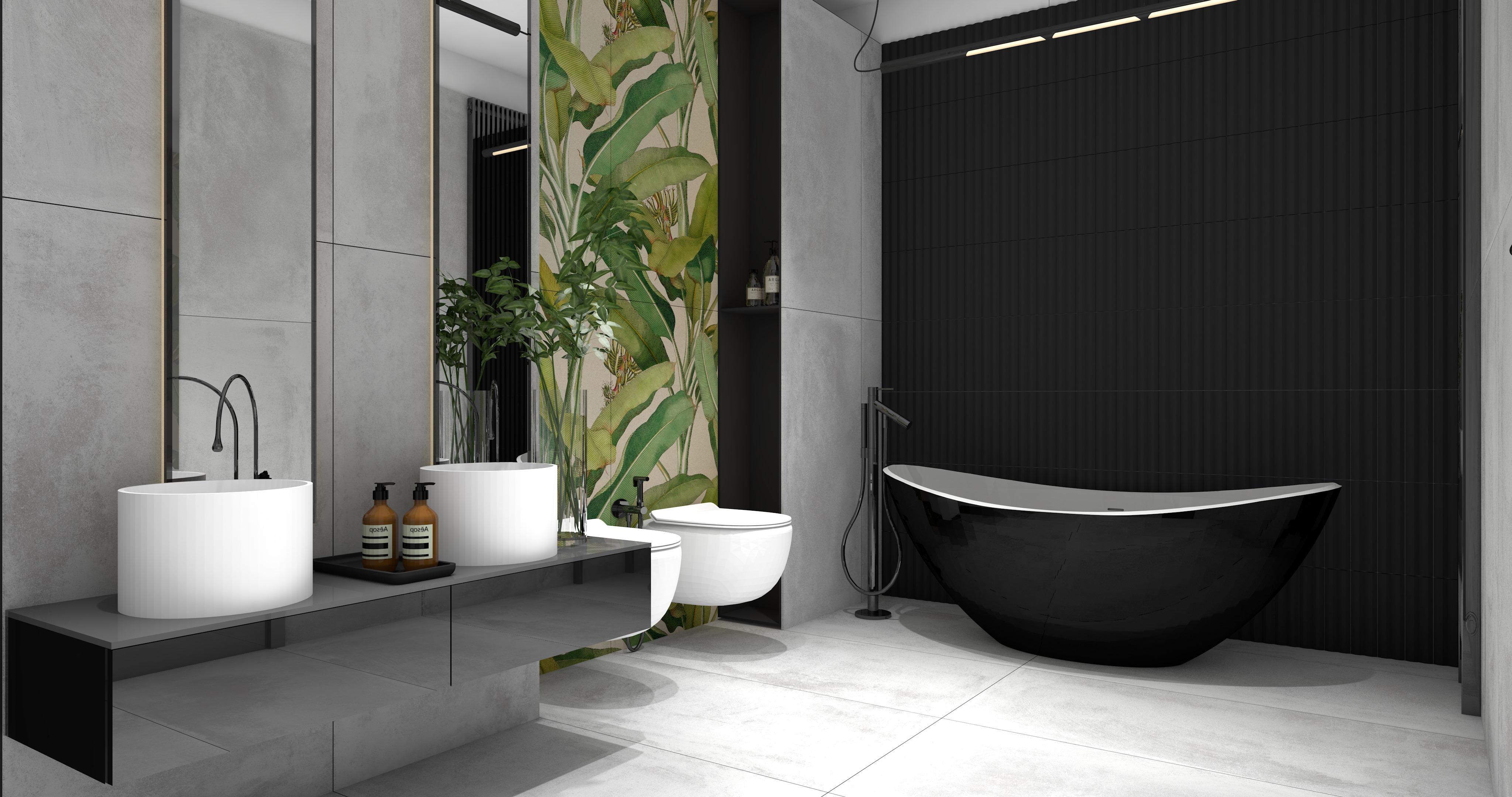 Łazienka w kolorach szarości z wiszącą szafką, dwiema umywalkami nablatowymi białymi, dwoma lustrami, czarną wanną wolnostojącą i baterią oraz płytkami Blokk Perla