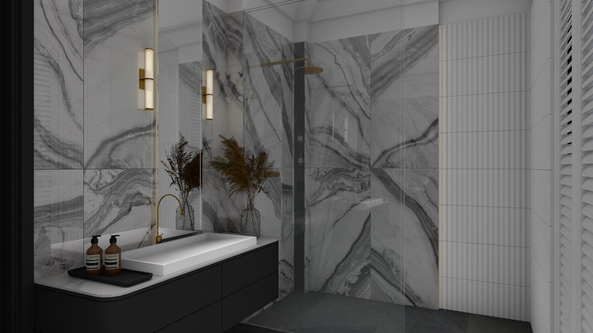Łazienka utrzymana w ciemnej kolorystyce z białą ścianą, czarną szafką wiszącą, białą umywalką, lustrem, kinkietami i płytkami ściennymi Panda White