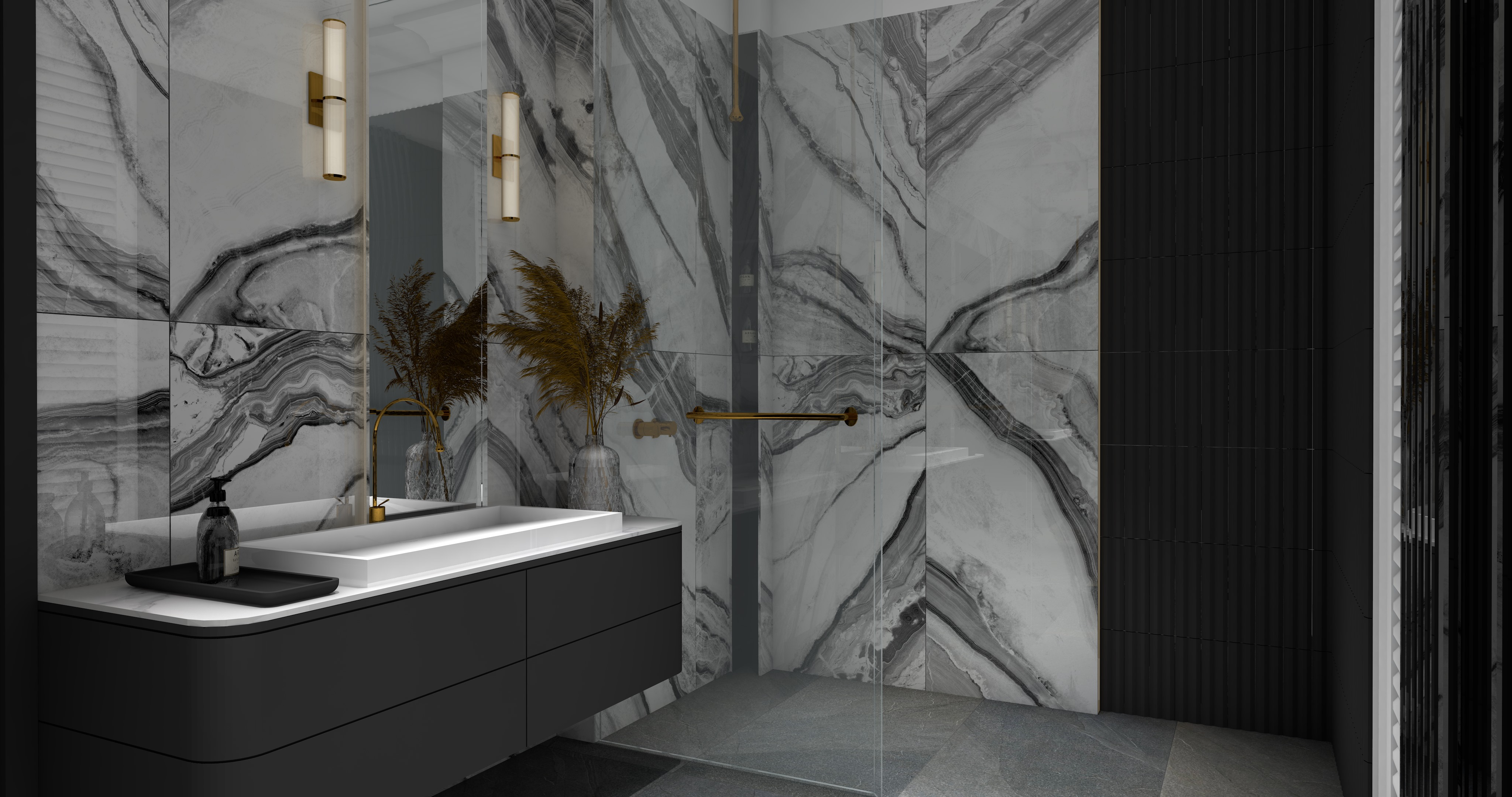 Łazienka utrzymana w ciemnej kolorystyce z czarną szafką wiszącą, białą umywalką, lustrem, kinkietami i płytkami ściennymi Panda White