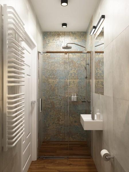 Mała łazienka z płytkami aparici carpet vestige natural