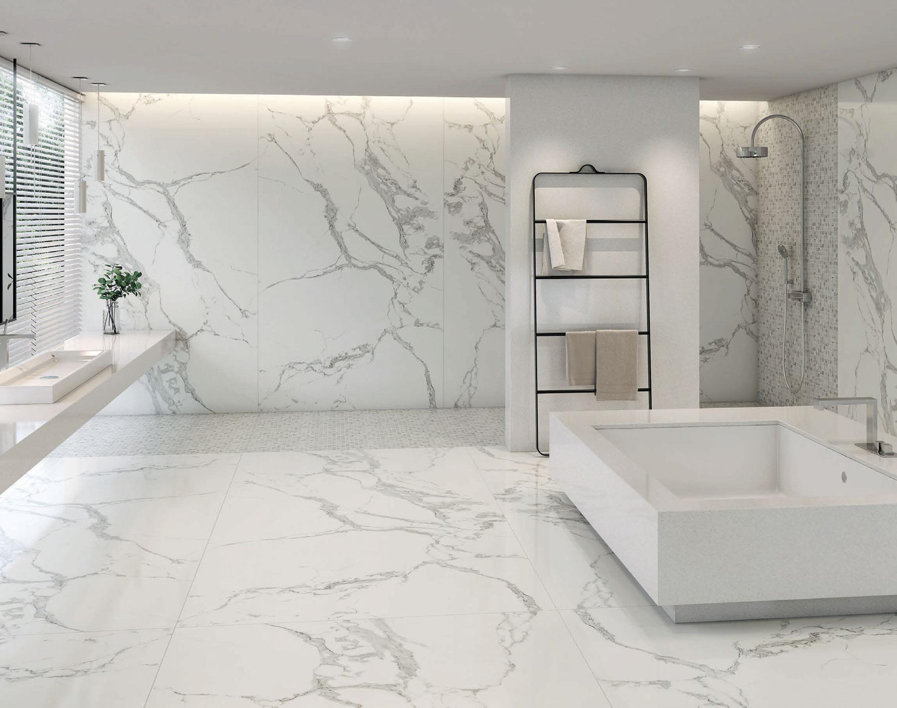 Płytki Podłogowe Do Złudzenia Przypominające Marmur Carrara