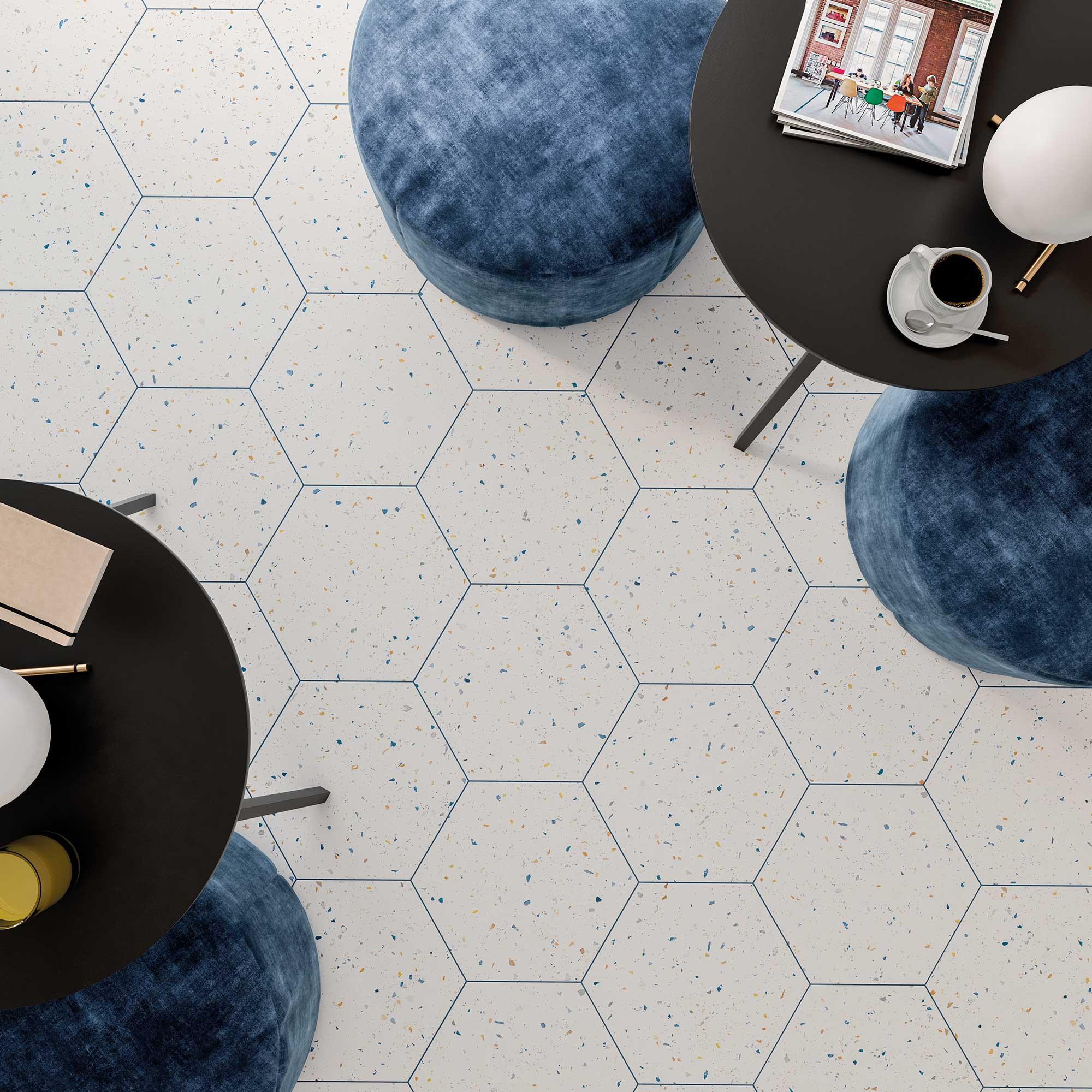 Płytki terrazzo lastryko kolorowe w kształcie heksagonów