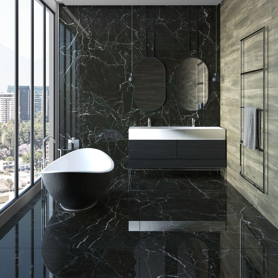 Ekstrawagancka łazienka z czarnymi płytkami Navarti Strom