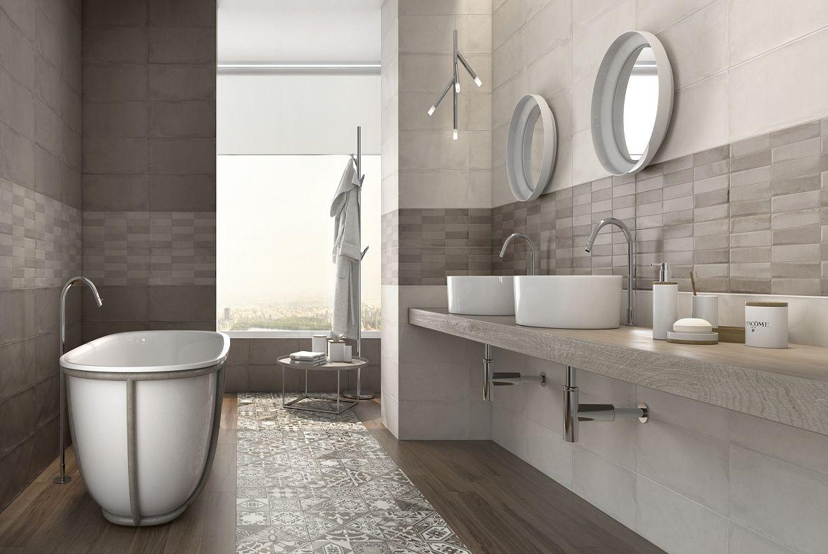Płytki betonopodobne w łazience