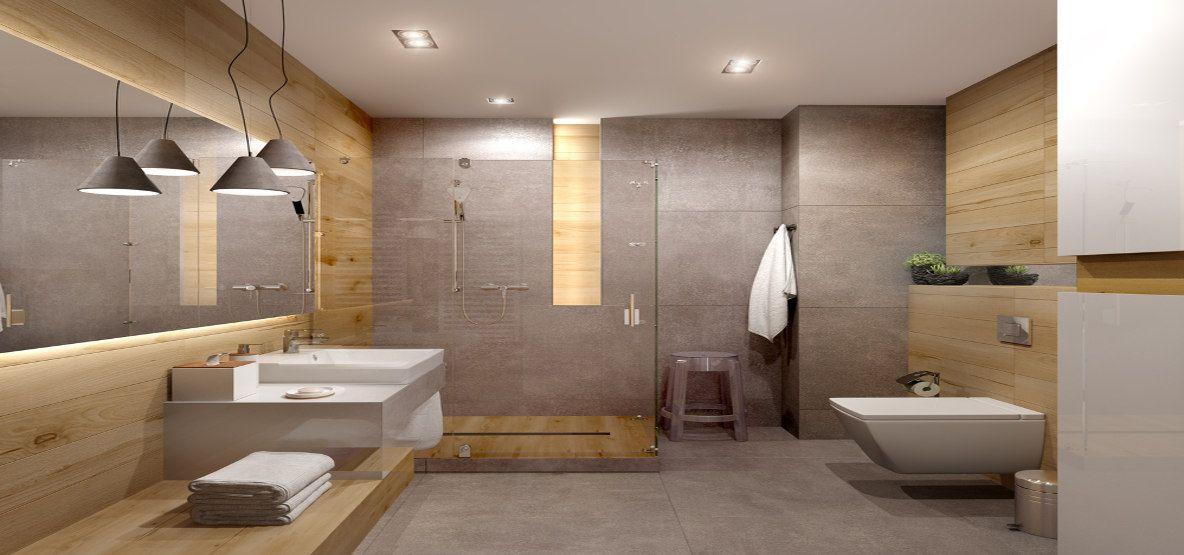łazienka Szara Z Ciepłym Drewnem Carreapl