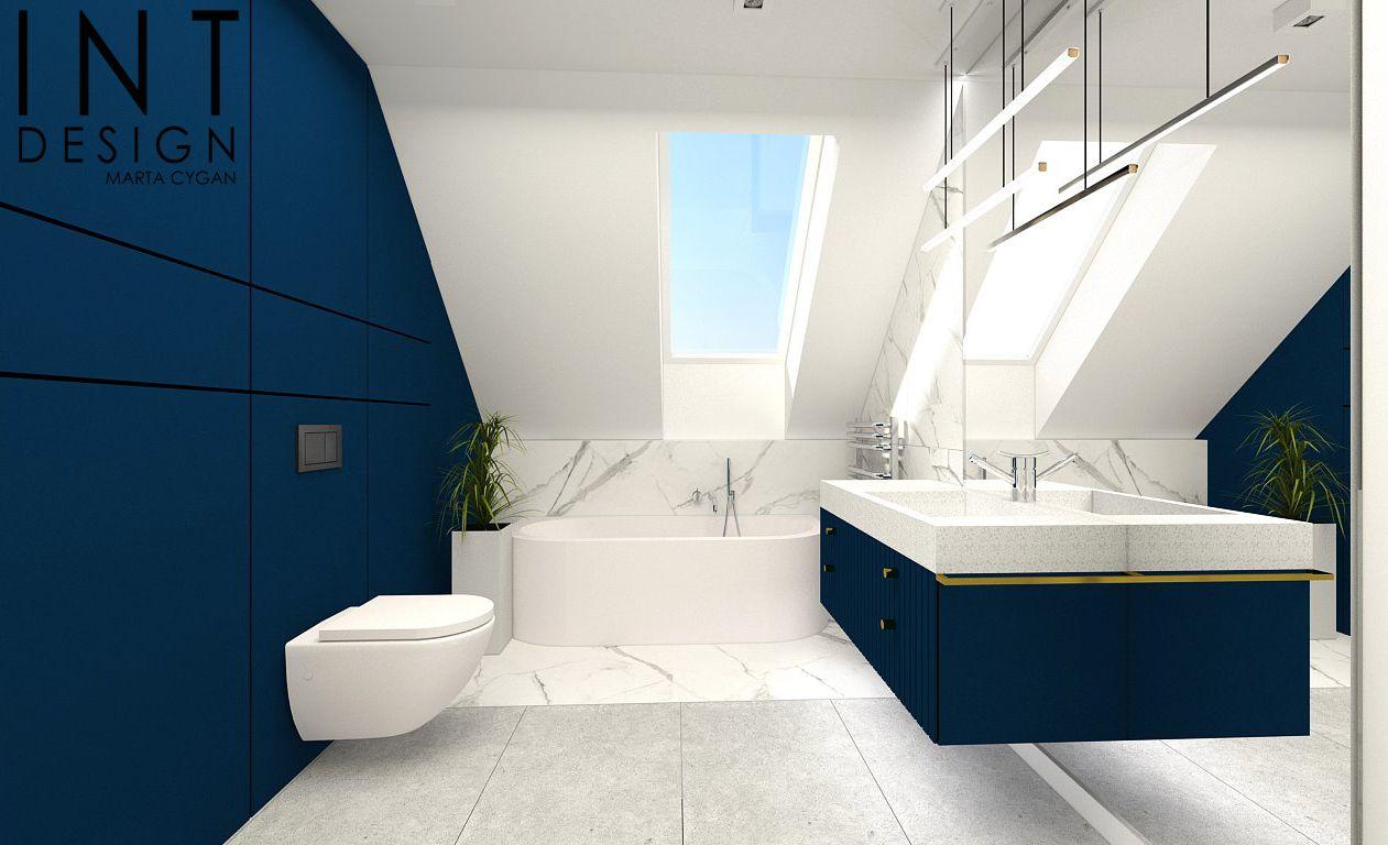 Aranżacja łazienka Z Marmurem Szarością I Granatem Carreapl