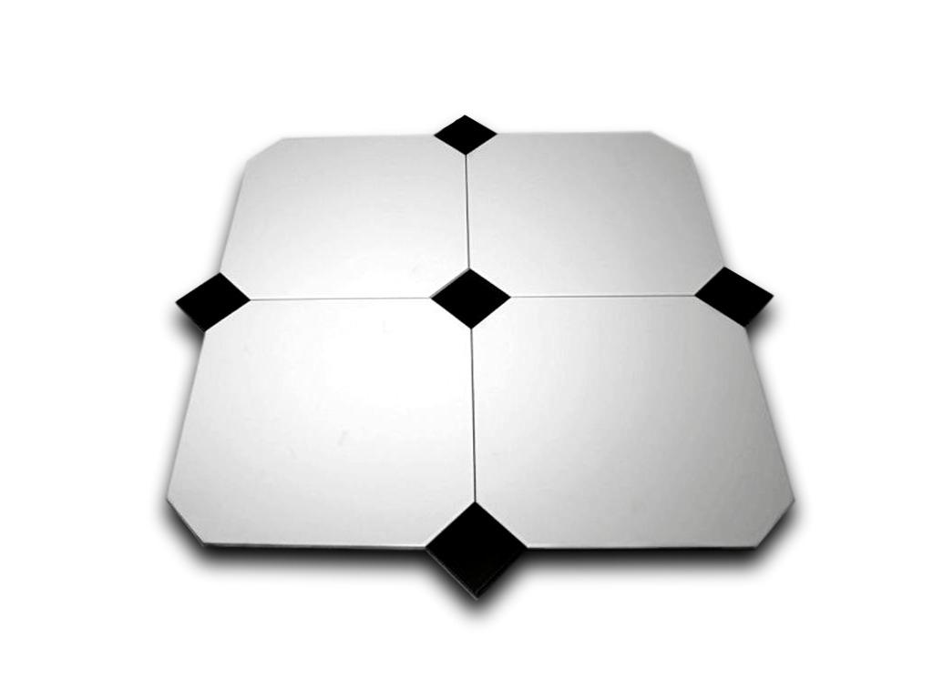 płytki oktagonalne białe z czarnym dekorem Octagono Alaska 31,6x31,6 Vives