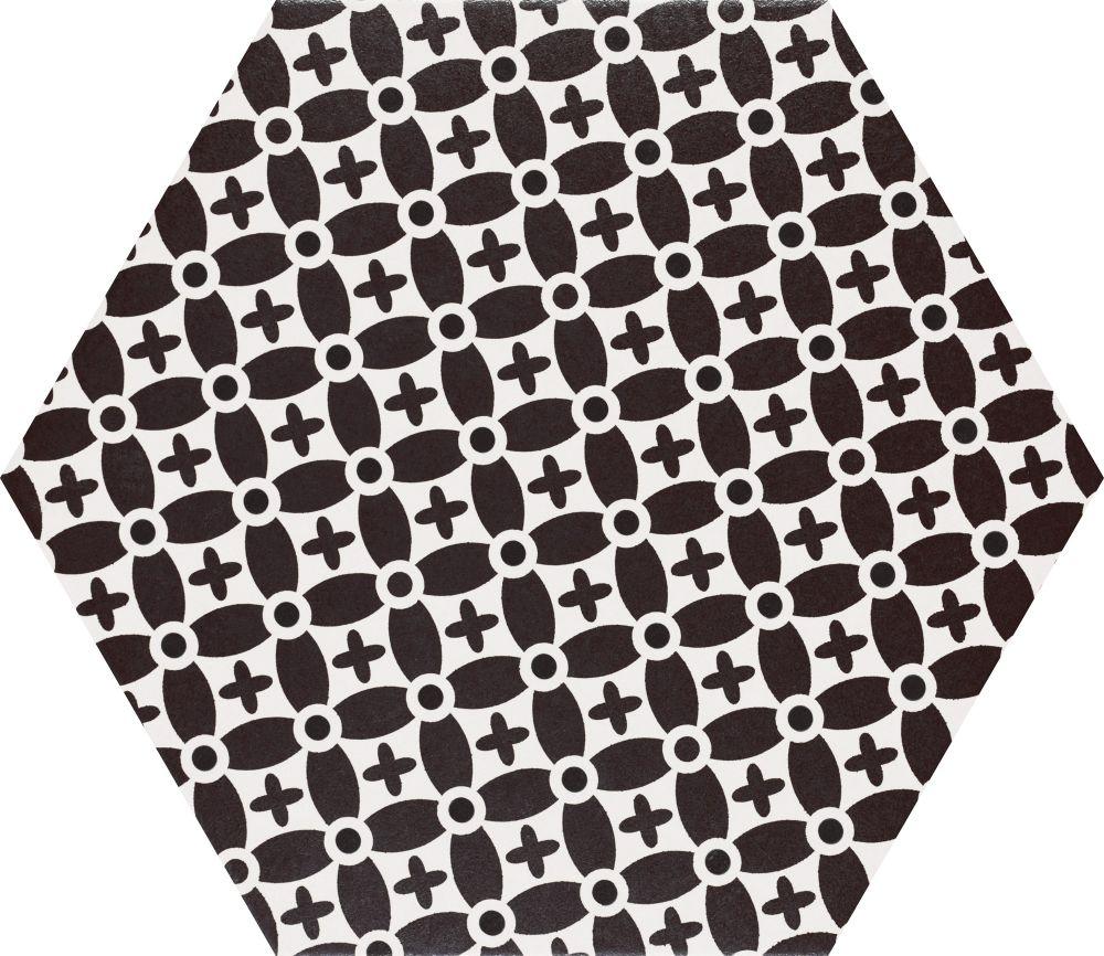 heksagon biało-czarnt płytki do łazienki salonu satynowe gres dekor