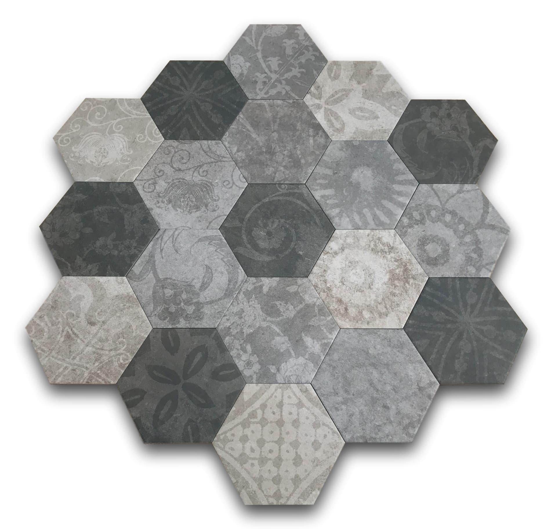płytki heksagonalne szare grafitowe na podłogę argenta hexagon multi cold