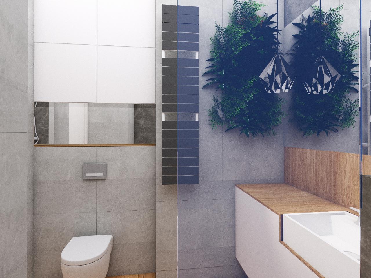 Łazienka z roślinami i szarymi płytkami