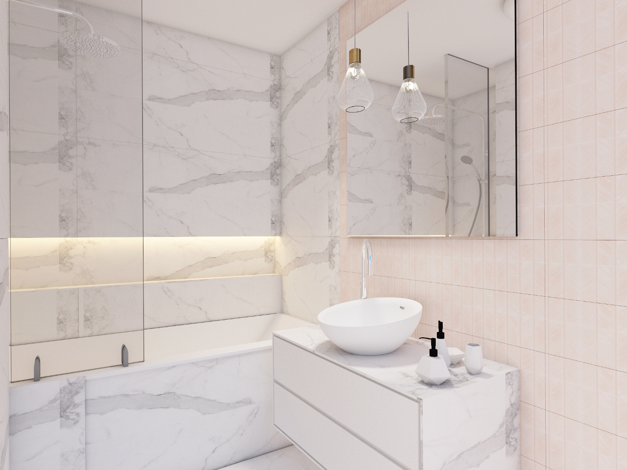 Łazienka z marmurem i pudrowym różem