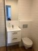 płytki kafle ryflowane łazienkowe do łazienki białe vives mugat blanco 10x20 realizacja