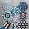 kolorowe płytki z wzorami podłogowe patchwork heksagonalne