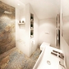 nowoczesna łazienka z płytkami wzorzystymi carpet