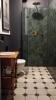 Łazienka z kabiną prysznicową i zielonymi płytkami Equipe Artisan Moss Green 6,5x20