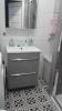 mała łazienka z płytkami boulevard negro 45x45