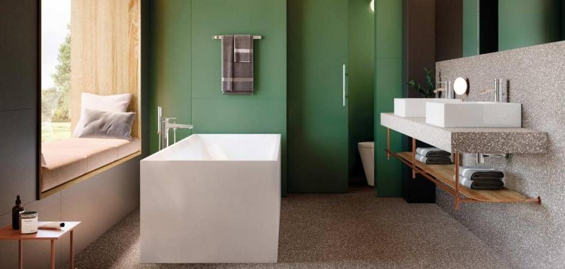 Przestronna łazienka z płytkami lastryko ROCA Pigment Gris i zielonymi ścianami