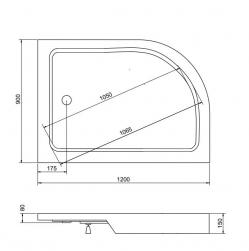 Brodzik półokrągły asymetryczny Saturn 120x90x4