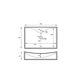 Umywalka nablatowa biała Square 56x40x10,5