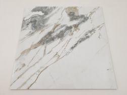 Płytki imitujące marmur z złotą i szarą żyłą Tinenza 75x75