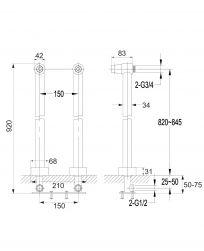 rysunek techniczny uniwersalne nogi do baterii wannowej złote 8819GL